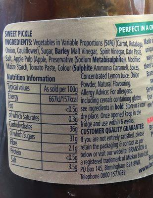 Original Sweet Pickle - Nährwertangaben