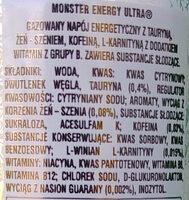 Monster energy ultra - Składniki - pl