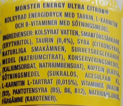 Monster Energy Ultra Citron - Ingrédients - sv
