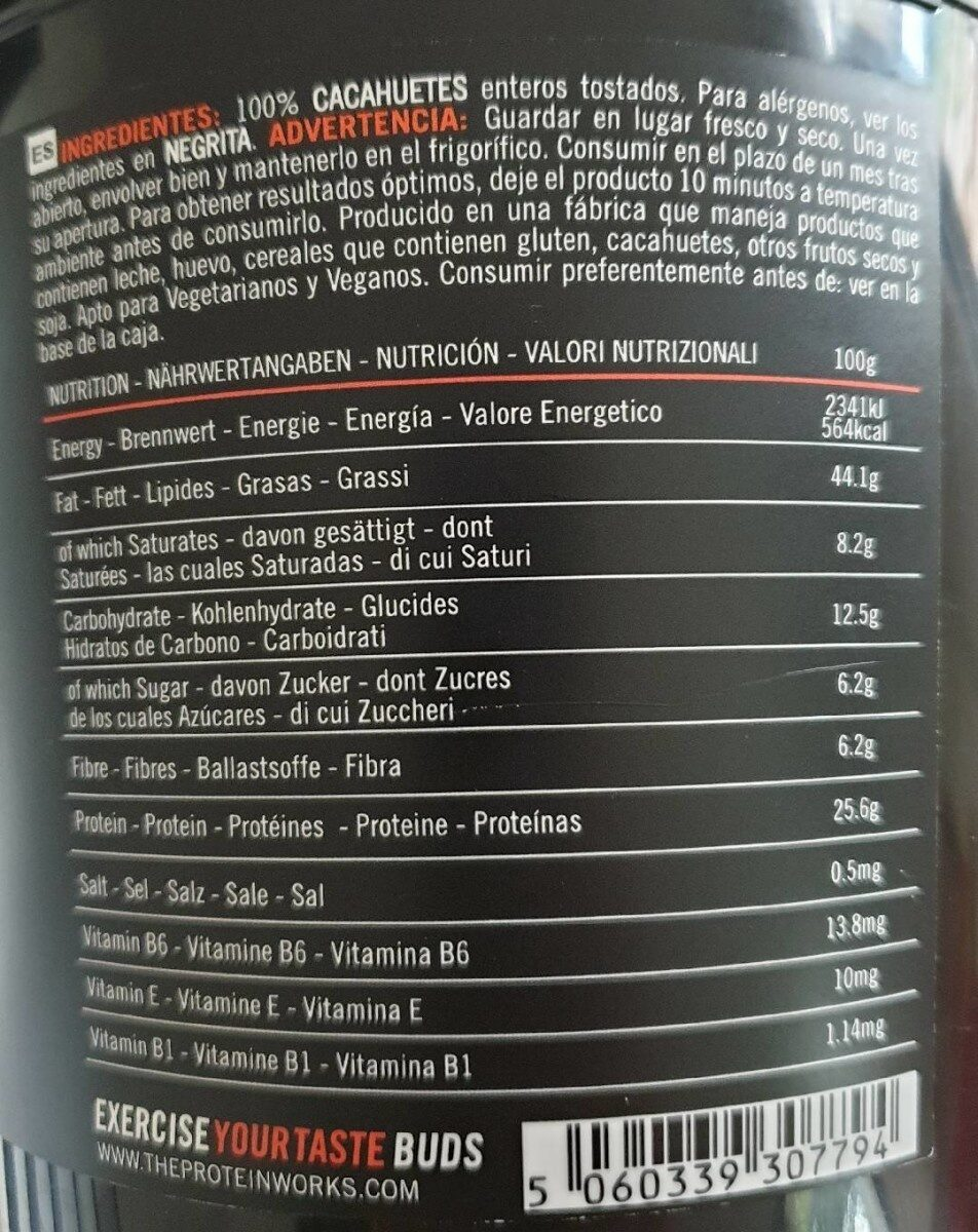 Bulk Deal 5 X the Protein Works Peanut Butter Smooth - Nutrition facts - fr