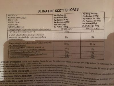 Ultra Fine Scottish Oats - Informations nutritionnelles - fr