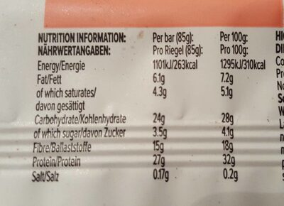 High protein snack bar - Strawberries & cream - Informations nutritionnelles - en