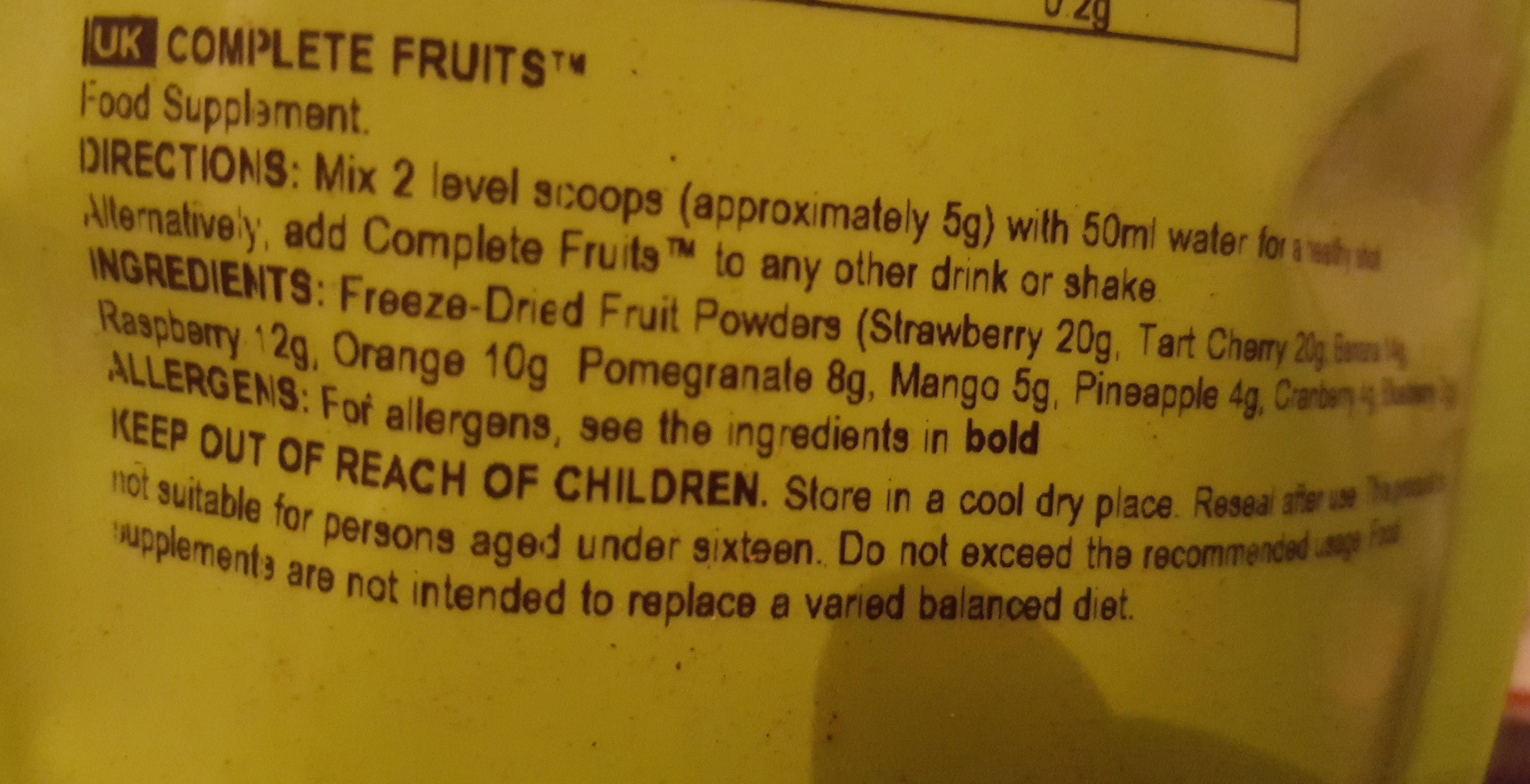 Complete Fruits - Ingrédients - fr