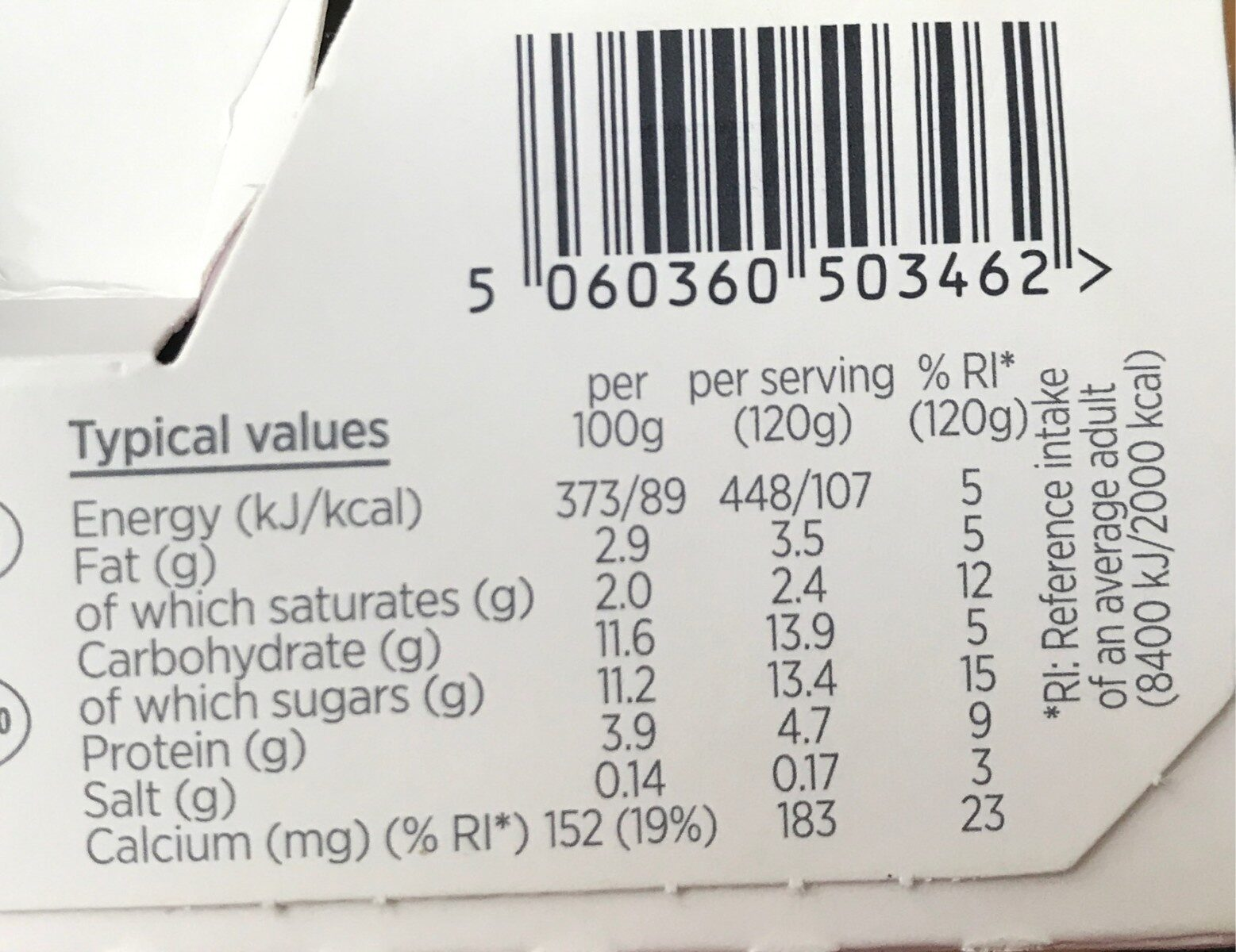 Activia Blueberry - Nutrition facts