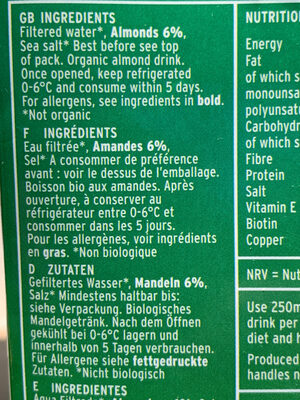 Plenish Organic Almond Milk - Ingredienti - en