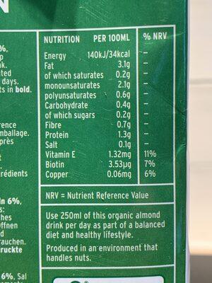 Plenish Organic Almond Milk - Valori nutrizionali - en