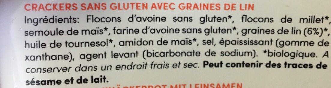 Crackers sans gluten graines de lin - Ingredients - fr