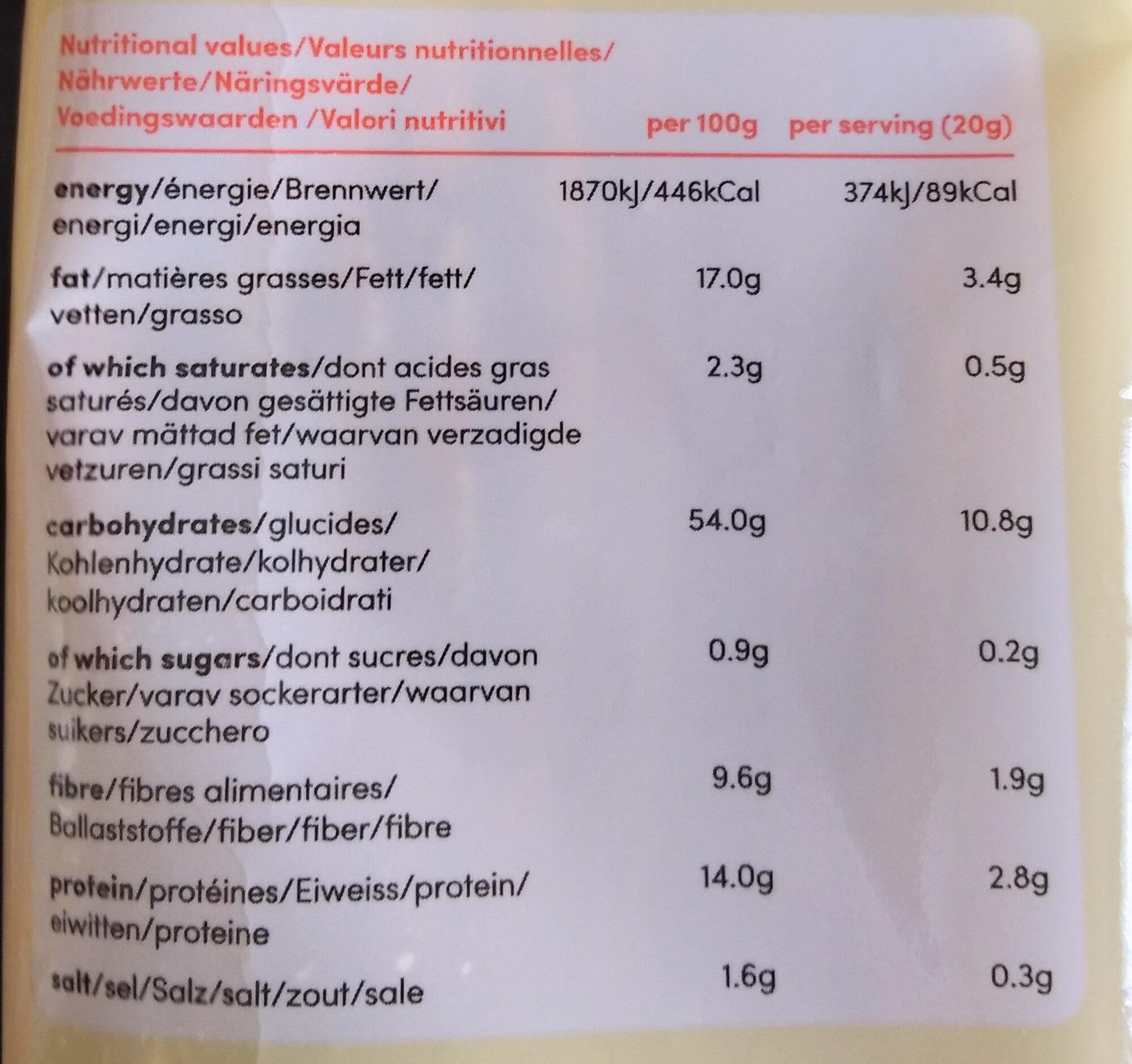 Crackers sans gluten graines de lin - Nutrition facts - fr