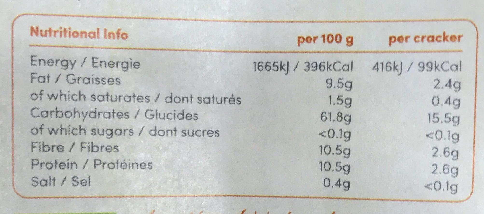 Crackers sans gluten Teff et Grains de Lin - Información nutricional
