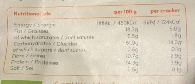 Crackers Sans Gluten Sésame et Graines de Chia - Nutrition facts