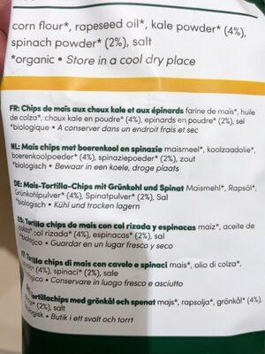 Tortilla Chips Chou Kale & Épinards - Ingredients - fr