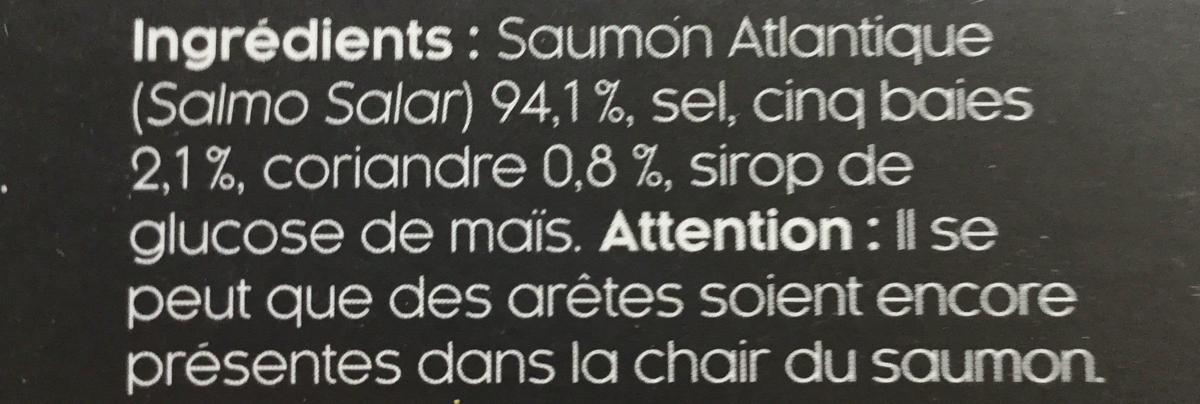 Lamelles de Saumon Fumé 5 baies & Coriandre - Ingrédients - fr