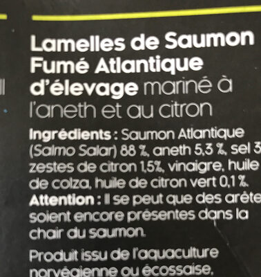 Lamelles de saumon fumé - Ingredients - fr
