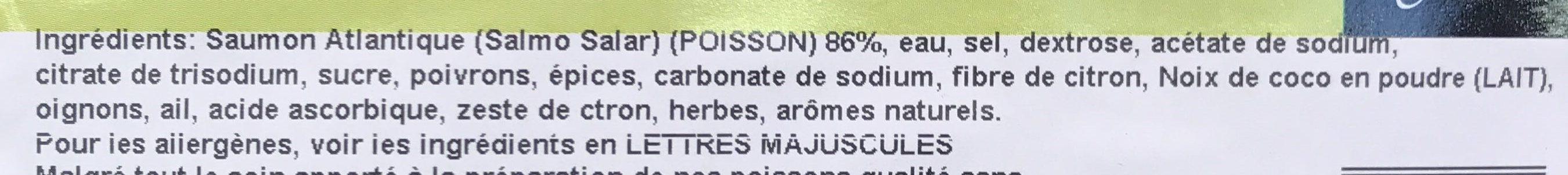 Pavés de Saumon Cru Façon Thaï - Ingrédients - fr