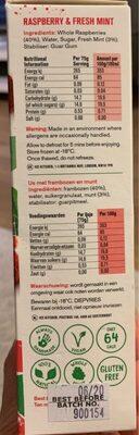 Ice kitchen raspberry & fresh mint - Voedingswaarden