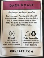 Cru Kafe Organic Nespresso Friendly Dark Roast Capsules - Ingrediënten - fr
