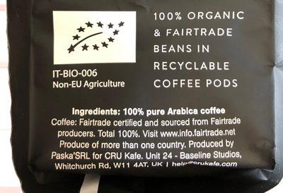 Cru Kafe Organic Nespresso Friendly Dark Roast Capsules - Voedingswaarden - fr