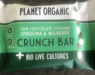 Raw chocolate covered spirulina and mulberry crunch bar - Produit