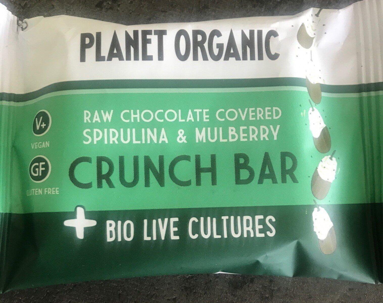 Raw chocolate covered spirulina and mulberry crunch bar - Produit