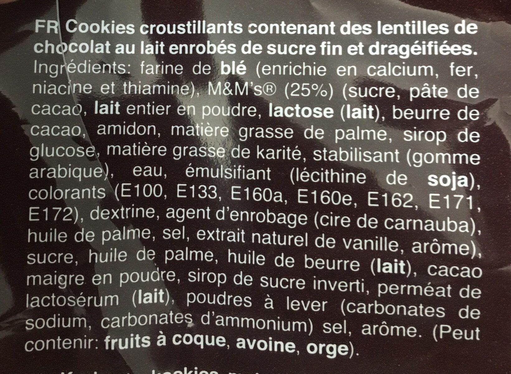 M &M Cookies 180G - Ingrédients