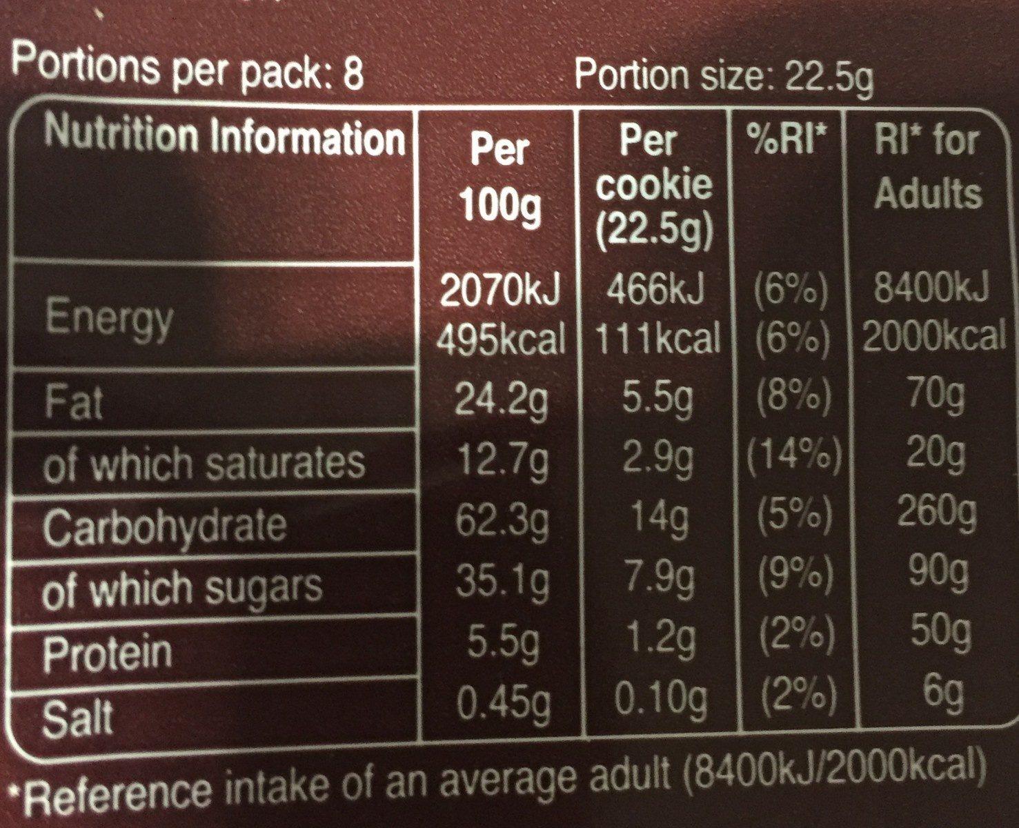 M &M Cookies 180G - Informations nutritionnelles