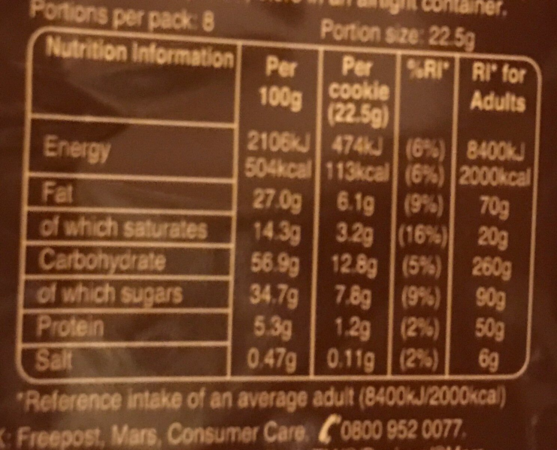 Chocolate chunk cookies - Informations nutritionnelles - en