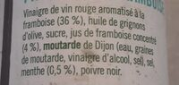 Vinaigrette et marinade - Menthe fraîche et framboise - Ingrédients
