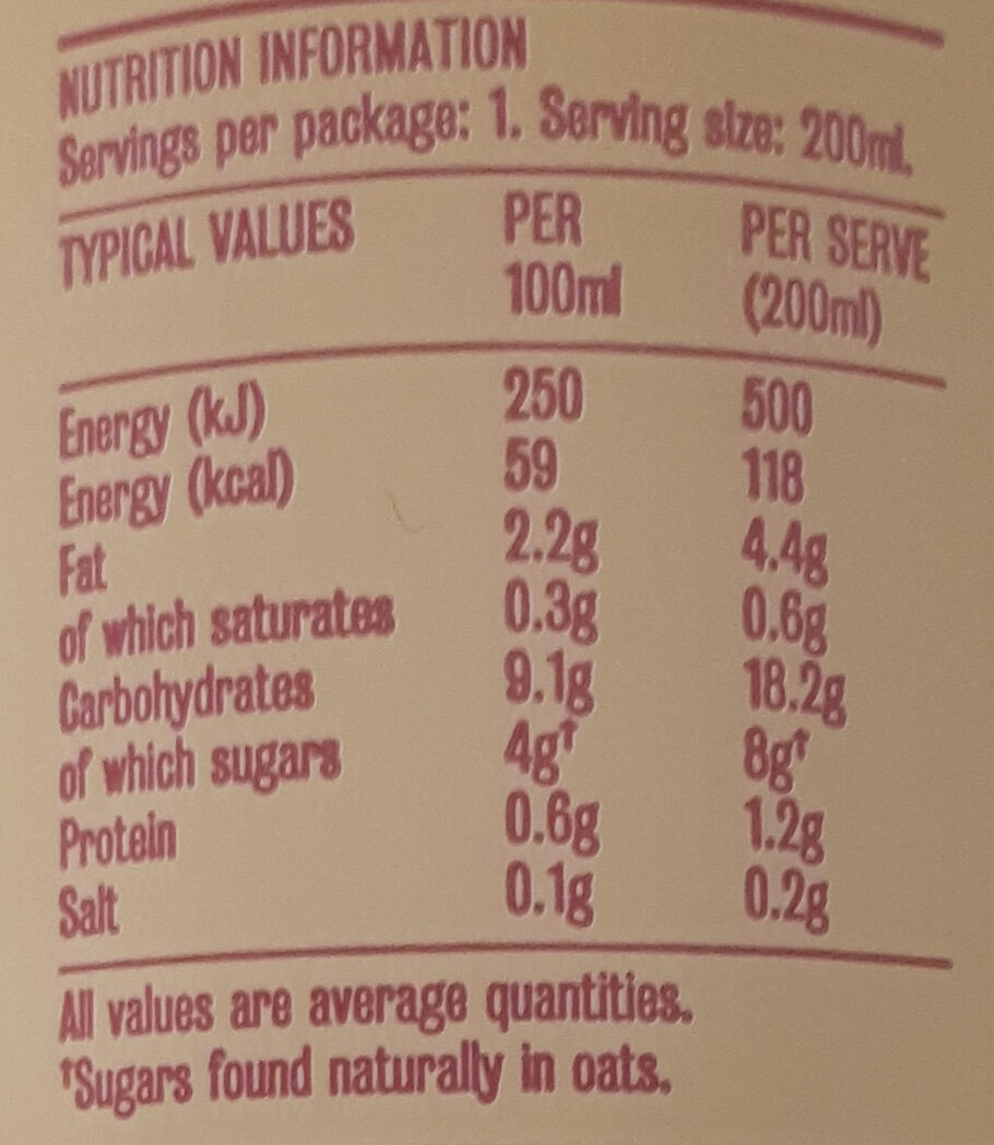 Nitro Cold Brew - Nutrition facts
