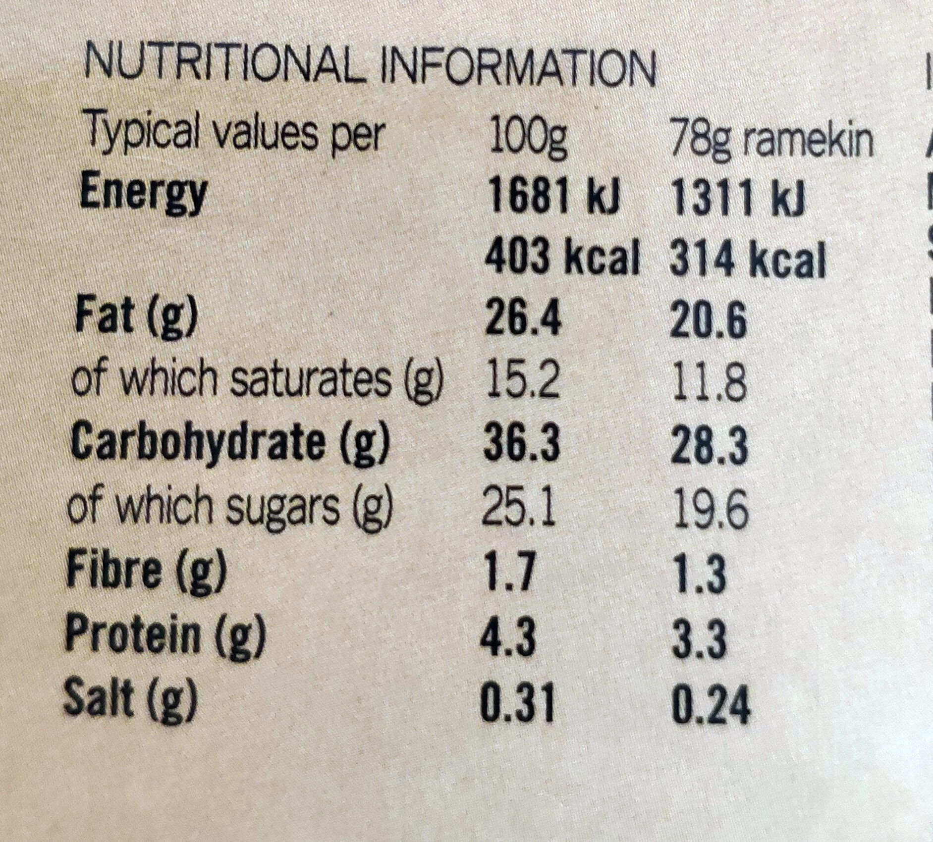 Chocolate & Vanilla Cheesecakes - Valori nutrizionali - en