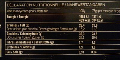 Cheesecakes au chocolat et vanille - Informations nutritionnelles - fr