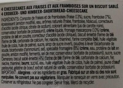 Cheesecakes intenses fraises framboises et biscuit sablé - Ingrédients - fr
