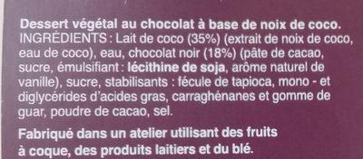 Dessert Végétal au Lait de coco au Chocolat - Ingredients