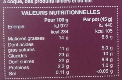 Dessert Végétal au Lait de coco au Chocolat - Nutrition facts