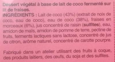 Dessert Végétal au Lait de Coco Fraise - Ingrédients - fr