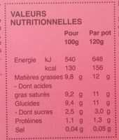 Dessert Végétal au Lait de Coco Fraise - Informations nutritionnelles - fr