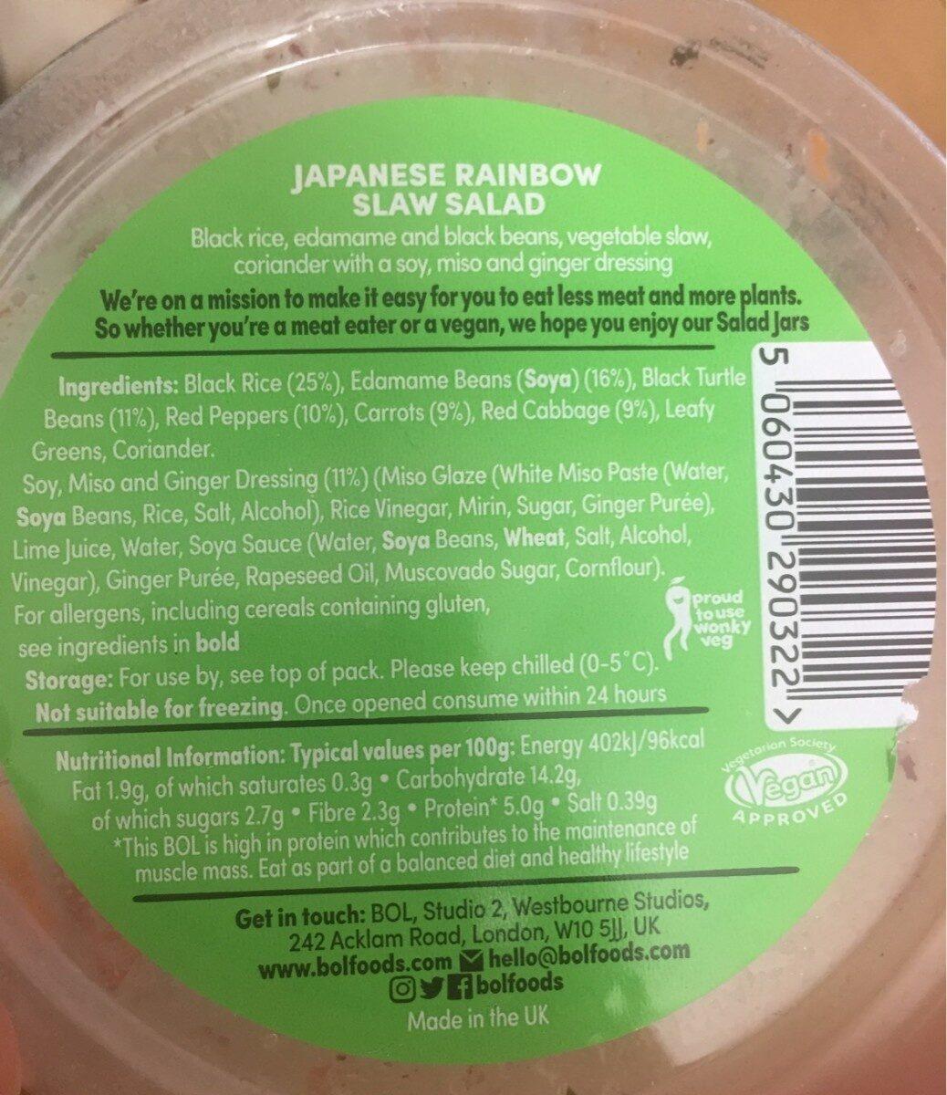 Japanese Rainbow Slaw salad - Nutrition facts