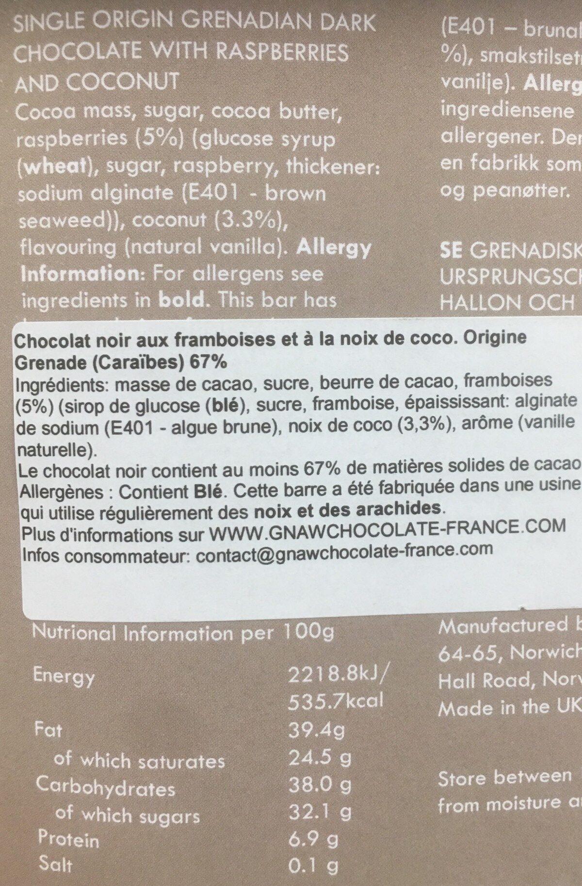 Raspberry & coconut - Ingrédients