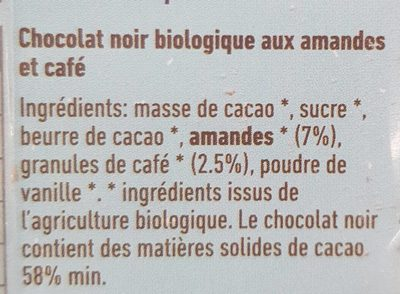 Le chocolat de gnaw amande café - Ingredients