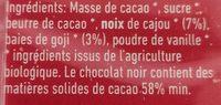 Chocolat + baies de goji + noix de cajou - Ingredients