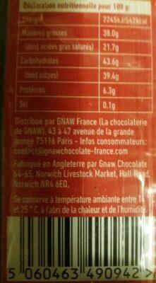 Chocolat + baies de goji + noix de cajou - Nutrition facts
