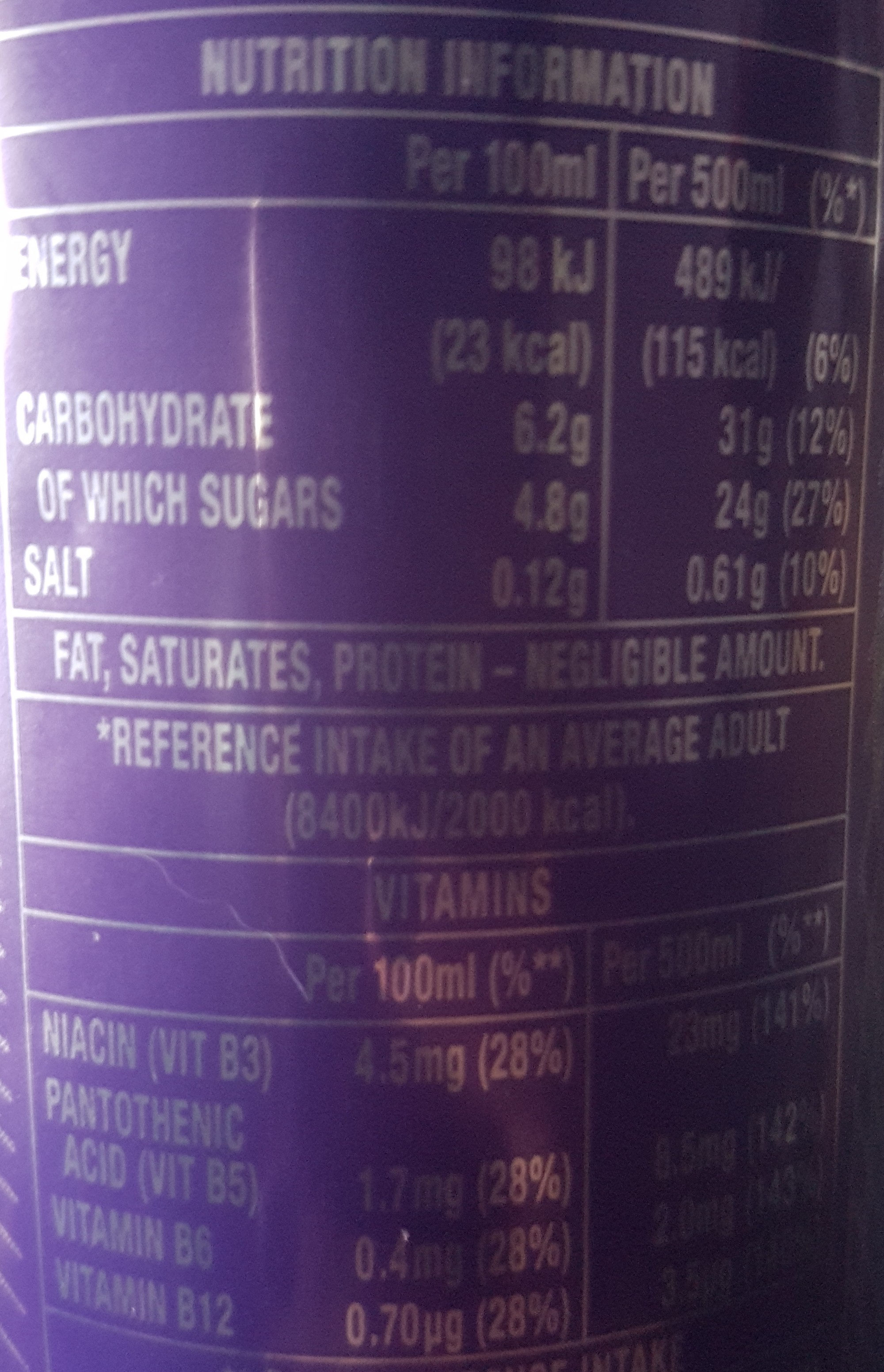 Relentless Passion Punch - Nutrition facts