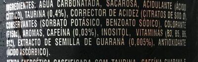 Energy drink Original - Ingredients - es