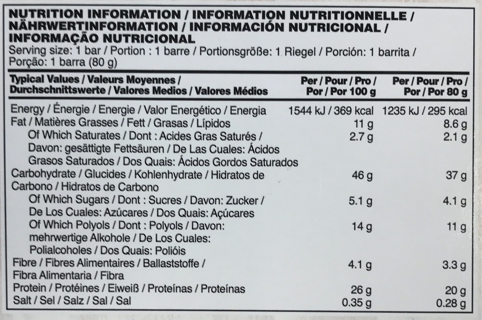 Protein Oats Flapjack - Nutrition facts