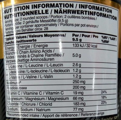 BCAA - Nutrition facts - fr