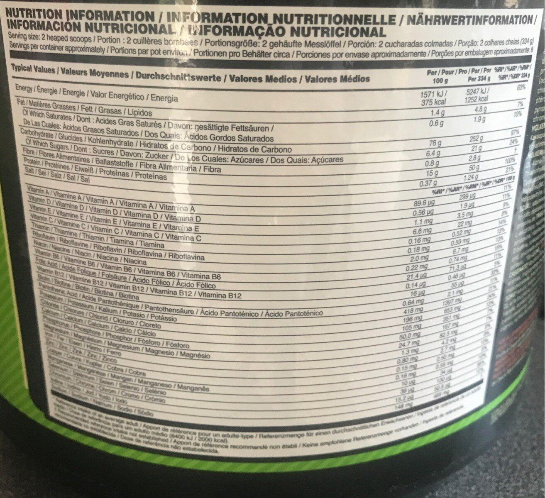 Serious Mass - Valori nutrizionali - fr
