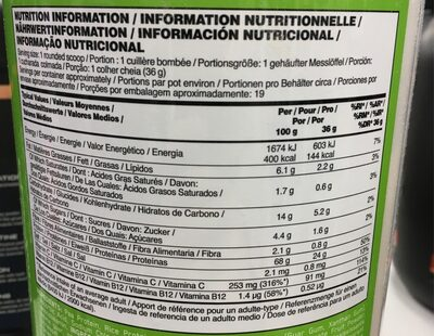 100% PLANT Vanilla - Nutrition facts