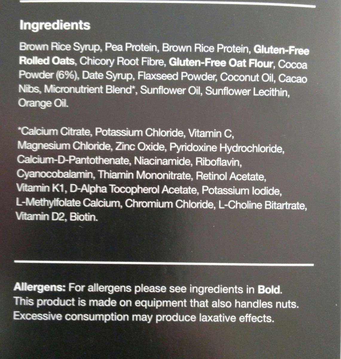 Cocoa & Orange Flavour Bar - Ingrédients - fr