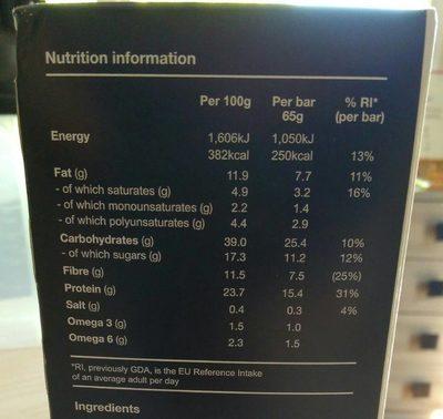 Cocoa & Orange Flavour Bar - Informations nutritionnelles - fr