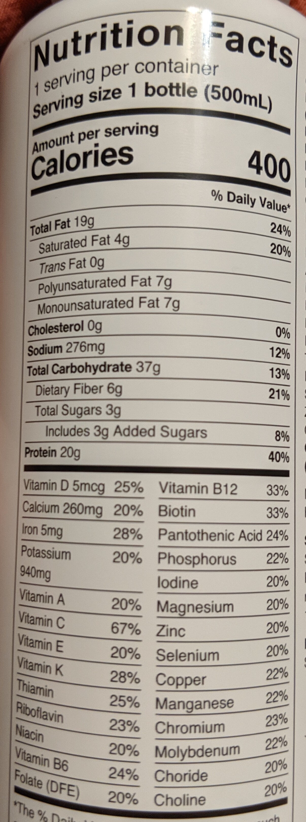 Huel - Nutrition facts