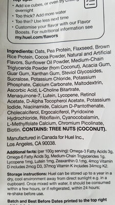 Chocolate Nutritional Drink Mix - Ingredients - en